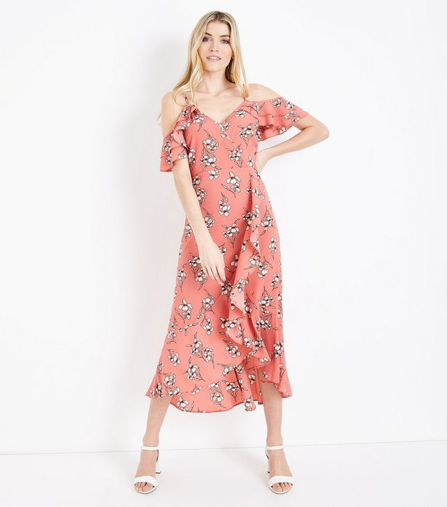 coral-floral-cold-shoulder-midi-dress-new look
